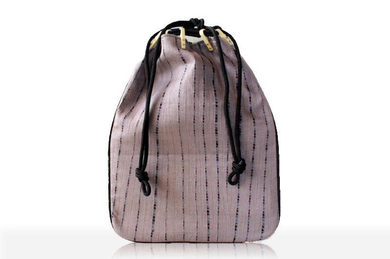 七代目吉澤与市 手筋絞り 薄紫 あじろマチ付信玄袋