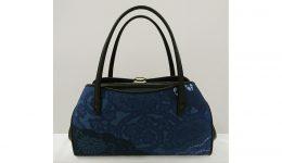 七代目吉澤与市 生紬藍染絞り 折込マチ付中型ハンドバッグ